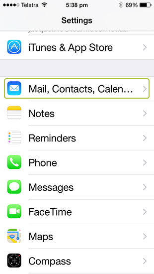 iPhone Mail, Contacts, Calendars